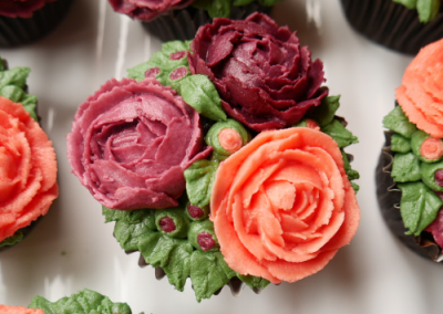 Close up of Image of Pretty roses bouquet cupcakes,vegan cupcakes, flower vegan cupcakes, dairy free, egg free cupcake art