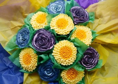 Vibrant Hand-Piped Cupcake Bouquet with Vegan Cupcakes, dairy free cake and egg free