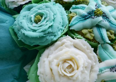 turquoise bouquet close up